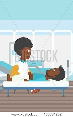 An african-american female doctor touching abdomen of patient. Man on reception at doctor. Vector flat design illustration. Vertical layout.