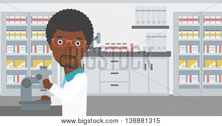 An african-american male laboratory assistant working with microscope at the laboratory. Vector flat design illustration. Horizontal layout.