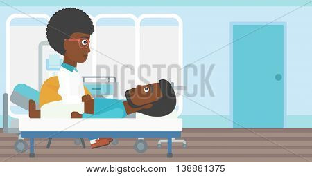 An african-american female doctor touching abdomen of patient. Man on reception at doctor. Vector flat design illustration. Horizontal layout.