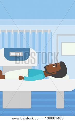 An african-american young man with the beard undergoes an open magnetic resonance imaging scan procedure in hospital rooom. Vector flat design illustration. Vertical layout.