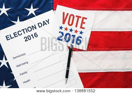 American vote concept. Ballot for presidents election 2016 on stars and stripes background