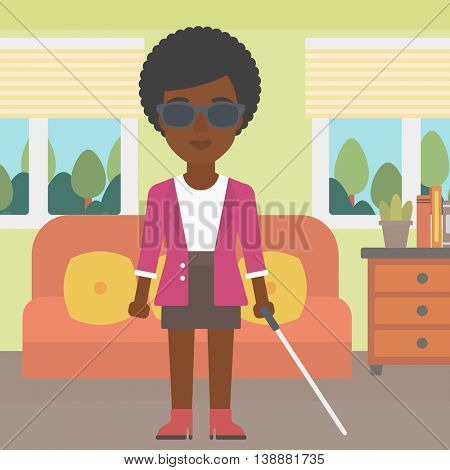 An african-american blind young woman in dark glasses standing with walking stick in the living room. Vector flat design illustration. Square layout.