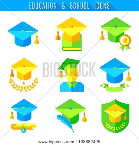 Education and school icons. Set of 9 colored flat vector icons