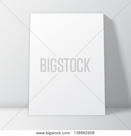 Blank white poster frame inside interior. Poster mock-up template. Vector illustration
