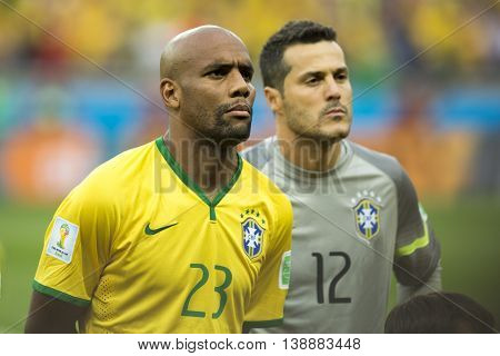 Belo Horizonte Brazil - july 08 2014: MAICON of Brazil during the FIFA 2014 World Cup. Brazil is facing Germany in the semi-finals at Mineirao Stadium