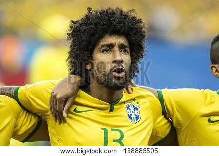 Belo Horizonte Brazil - july 08 2014: DANTE of Brazil during the FIFA 2014 World Cup. Brazil is facing Germany in the semi-finals at Mineirao Stadium