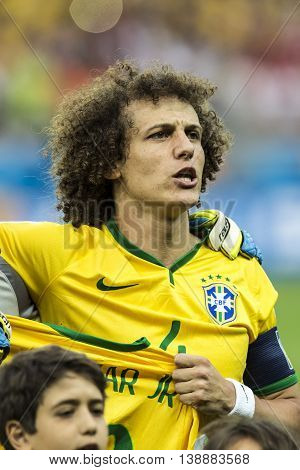 Belo Horizonte Brazil - july 08 2014: DAVID LUIZ of Brazil during the FIFA 2014 World Cup. Brazil is facing Germany in the semi-finals at Mineirao Stadium
