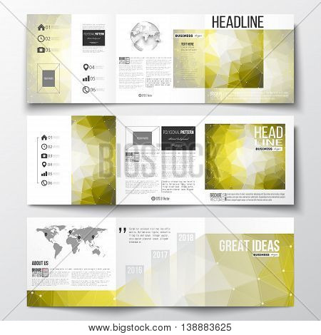 Vector set of tri-fold brochures, square design templates with element of world map and globe. Molecular construction with connected lines and dots, scientific pattern on abstract yellow polygonal background, modern stylish triangle vector texture.