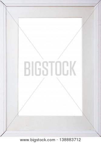 Antique Light Wooden Frame Isolated On White Background