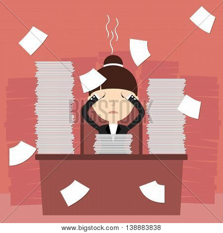 Business situation. Businesswoman tired of hard work. Vector illustration.
