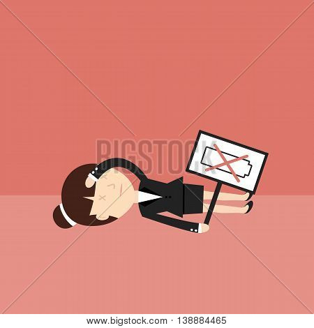 Business situation. Tired businesswoman has not the power. Vector illustration.