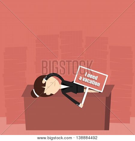 Business situation. Tired businesswoman needs a vacation. Vector illustration.
