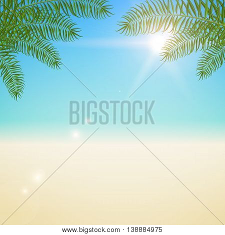 Summer vector blurred background with palm leaves and sun