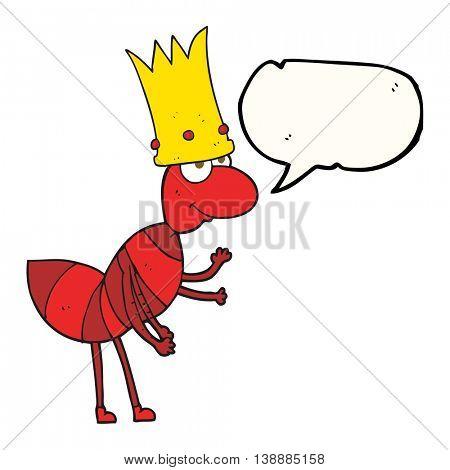freehand drawn speech bubble cartoon ant queen