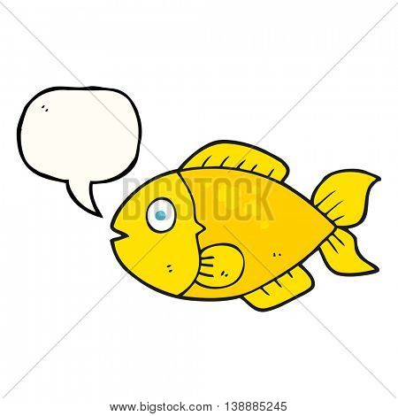 freehand drawn speech bubble cartoon fish