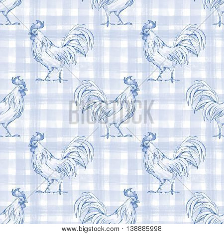 Rooster. Seamless pattern 1. Checkered background. Plaid