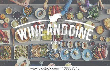 Wine And Dine Food Graphic Concept