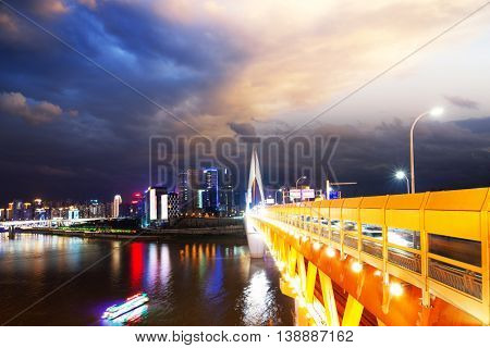 night scene of downtown of chongqing on view from bridge