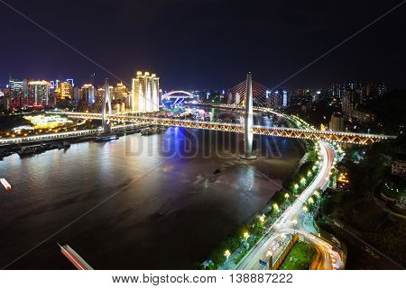 night scene of downtown near bridge of chongqing