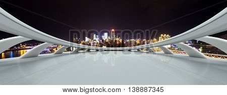 cityscape and skyline of chongqing at night on view from abstract window