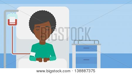 An african-american woman lying in bed at hospital ward with equipment for blood transfusion. Vector flat design illustration. Horizontal layout.