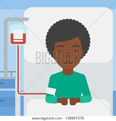 An african-american woman lying in bed at hospital ward with equipment for blood transfusion. Vector flat design illustration. Square layout.