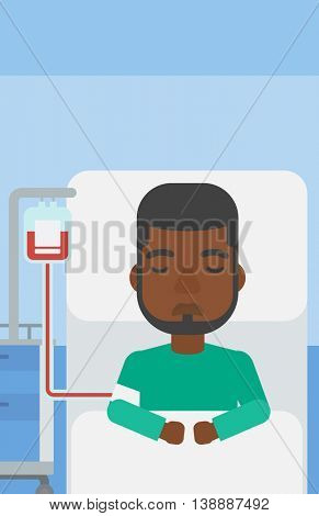 An african-american man lying in bed at hospital ward with equipment for blood transfusion. Vector flat design illustration. Vertical layout.