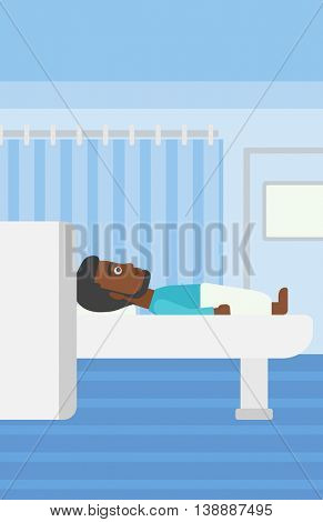 An african-american young man with the beard undergoes a magnetic resonance imaging scan test at hospital room. Vector flat design illustration. Vertical layout.