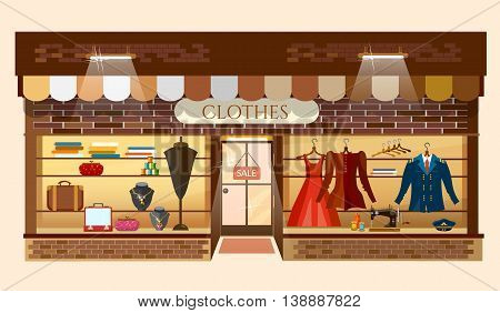 Clothes store building facade fashion clothing shop interior women shopping mall showcase model cartoon vector illustration