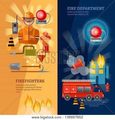 Firefighters banners equipment fireman fire safety vector illustration