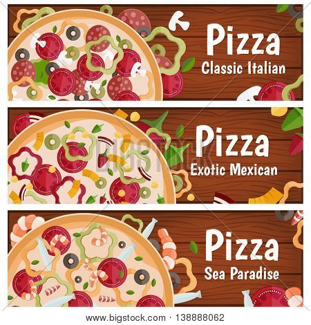 Set Of Banners For Theme Pizza With Different Tastes Flat Design On Wood. Vector Illustration