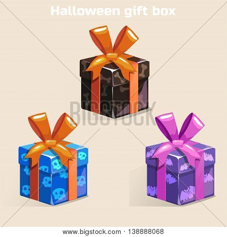 Colors Halloween gift box in vector set