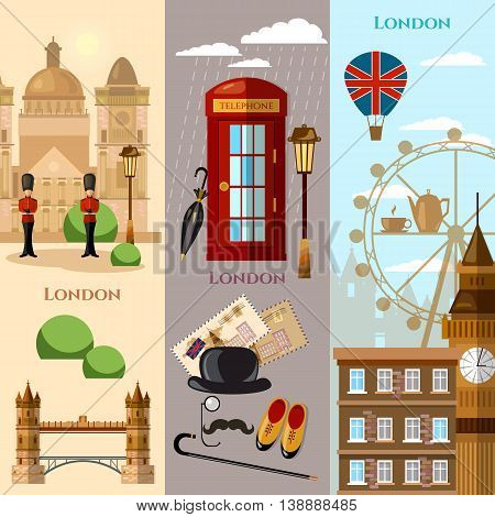 London banner United Kingdom historical buildings royal guards attraction vector illustration