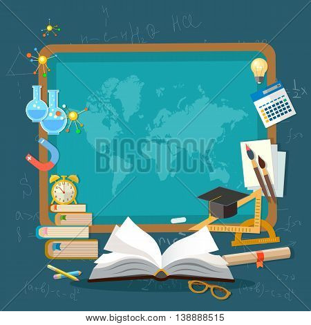 Education background infographics school blackboard world map open book of knowledge effective education vector illustration