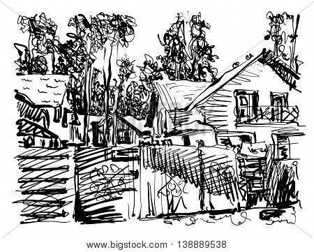 black and white digital graphic of village composition with houses and trees, freehand sketch vector illustration
