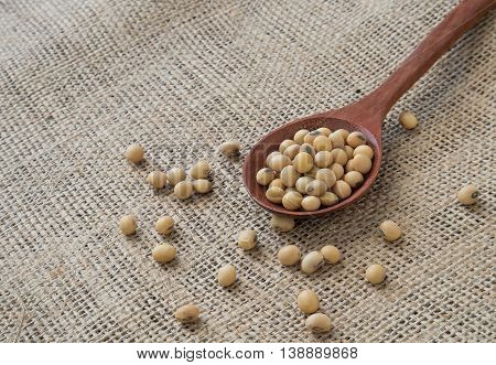 Soybeans in wooden spoon on sackcloth background.