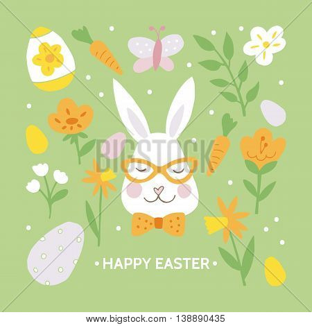 Easter holiday greeting card design with easter hipster bunny. Hand drawing isolated vector illustration