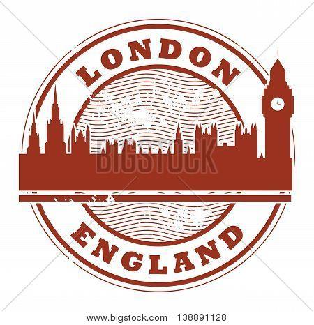 Grunge rubber stamp with London, England inside, vector illustration