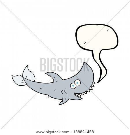 freehand drawn speech bubble cartoon shark