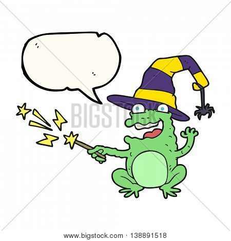 freehand drawn speech bubble cartoon toad casting spell