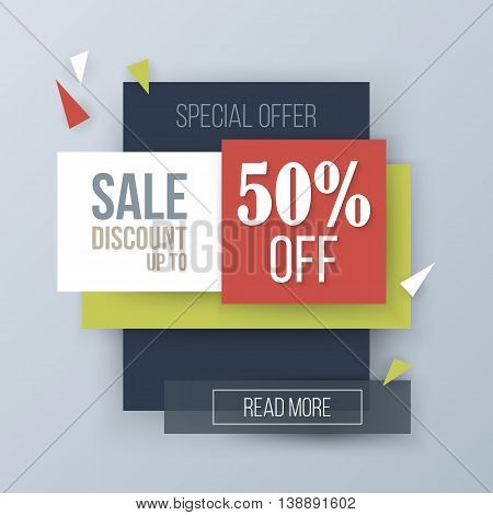 Sale discount creative banner design. Vector illustration