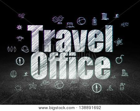 Vacation concept: Glowing text Travel Office,  Hand Drawn Vacation Icons in grunge dark room with Dirty Floor, black background
