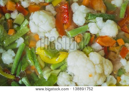 Delicious vegetables stew in pan in kitchen
