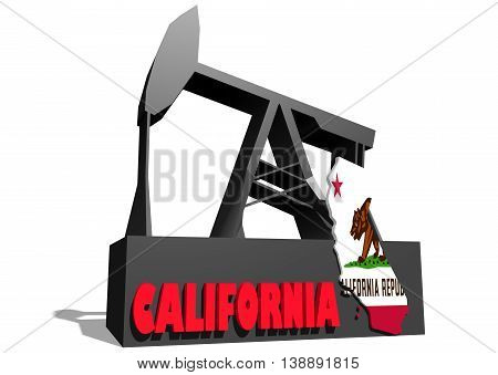 Oil pump and California map. Energy and power relative backdrop. 3D rendering