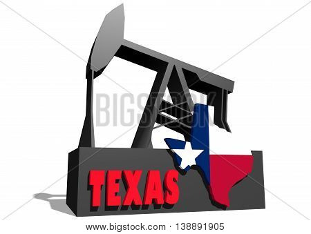 Oil pump and Texas map. Energy and power relative backdrop. 3D rendering