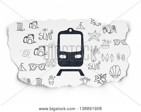 Vacation concept: Painted black Train icon on Torn Paper background with  Hand Drawn Vacation Icons