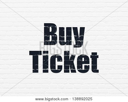 Tourism concept: Painted black text Buy Ticket on White Brick wall background