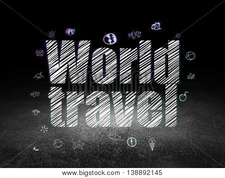 Tourism concept: Glowing text World Travel,  Hand Drawn Vacation Icons in grunge dark room with Dirty Floor, black background