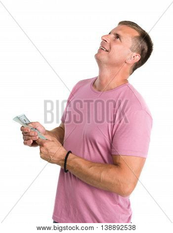 Happy Man Holding Pack Of Money