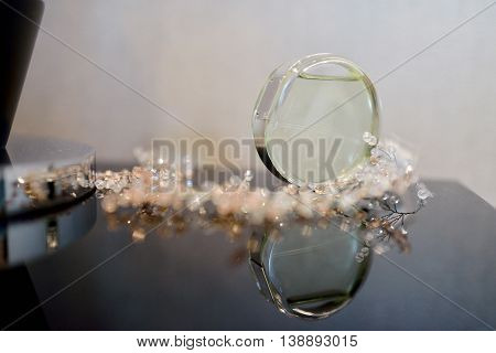 Beautiful Wedding Perfume Bottle For Bride And Groom. Beauty Of Wedding Accessories Indoors. Close-u